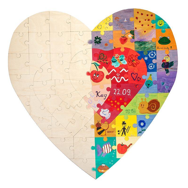 Holz Puzzle Herz Zum Bemalen Ein Ideales Hochzeitsgeschenk